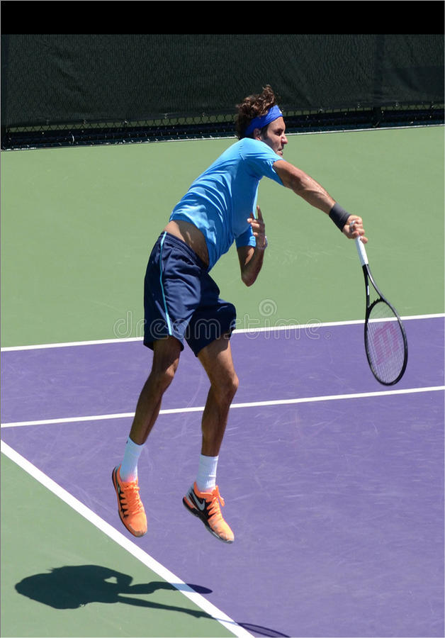 Tennis suisse Roger Federer chez Sony Open images libres de droits