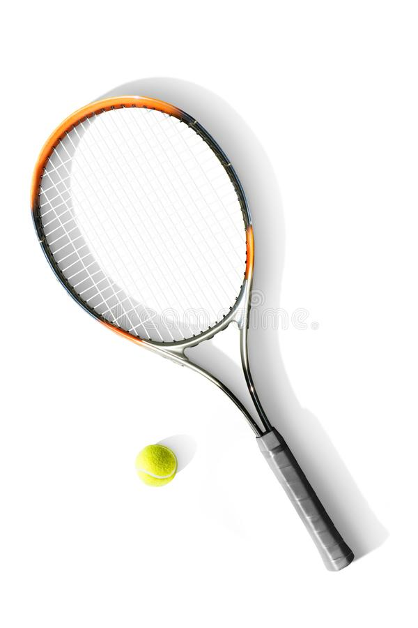 Tennis. Tennis ball and racket the white background. Isolated. Sport royalty free stock images