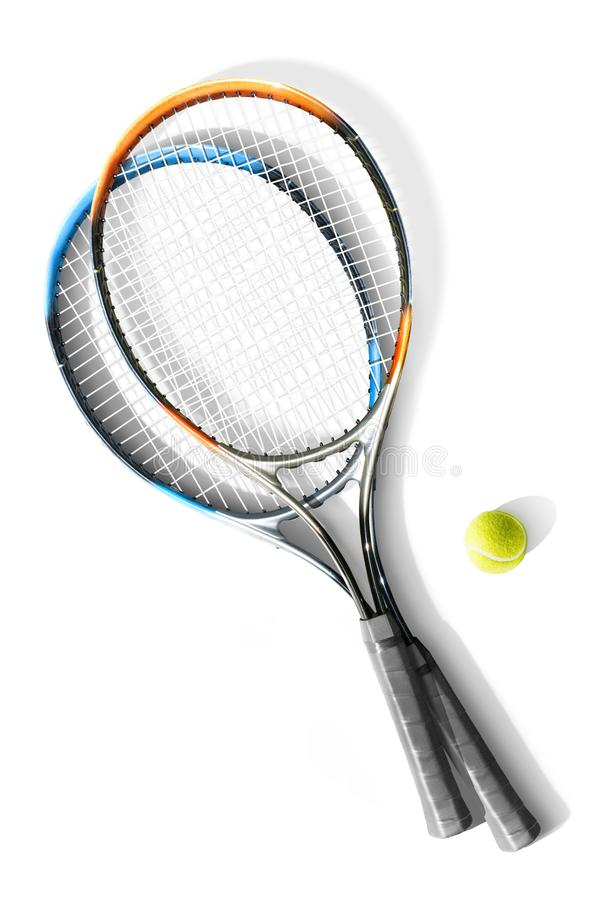 Tennis. Tennis rackets and ball the white background. Isolated stock images