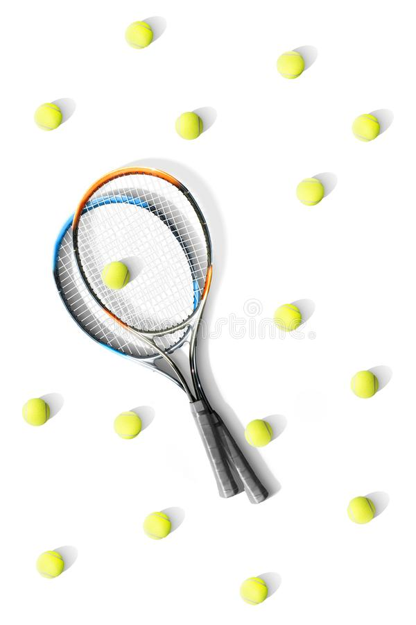 Tennis. Tennis rackets and balls the white background. Isolated. Sport stock photography