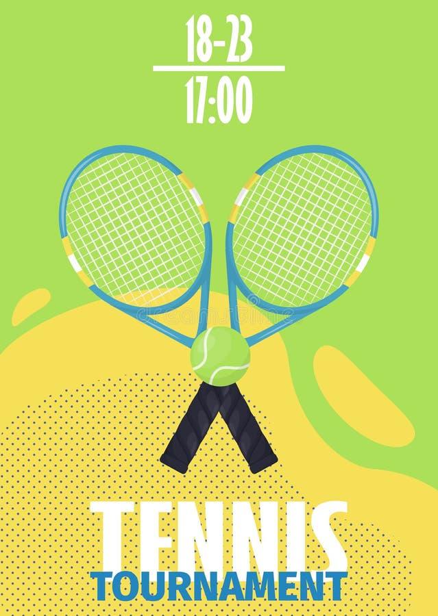 Tennis tournament poster with tennis ball shield flyer template vector illustration design. Sport championship tennis. Ball racket equipment template stock illustration