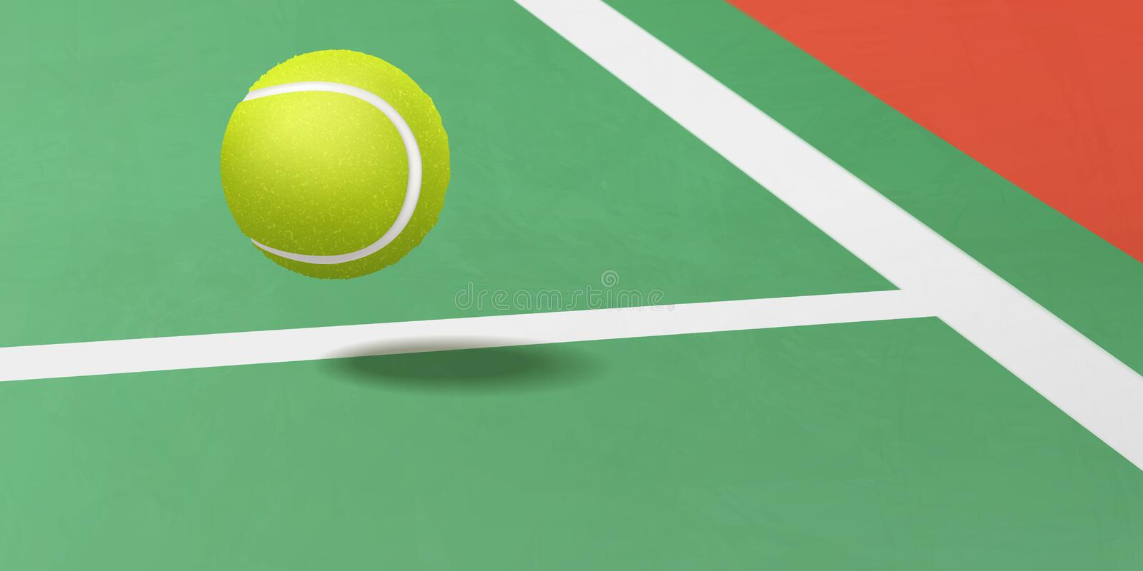 Tennis ball flying under court realistic vector. Tennis tournament, racket sport game competition or championship ad background template with new tennis ball stock illustration