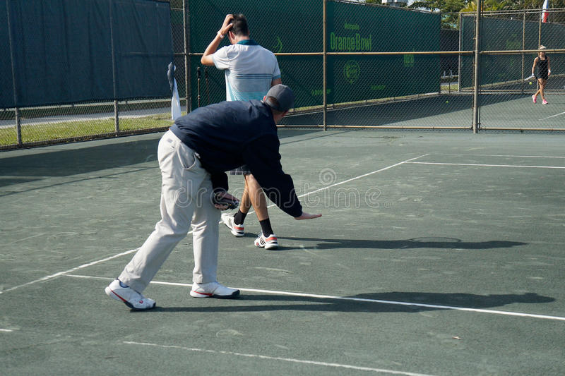 Tennis Umpire Confirms Line Call royalty free stock image