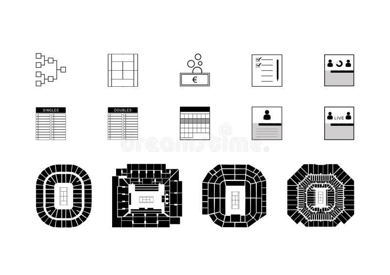 Tennis vectorpictogrammen royalty-vrije stock afbeeldingen