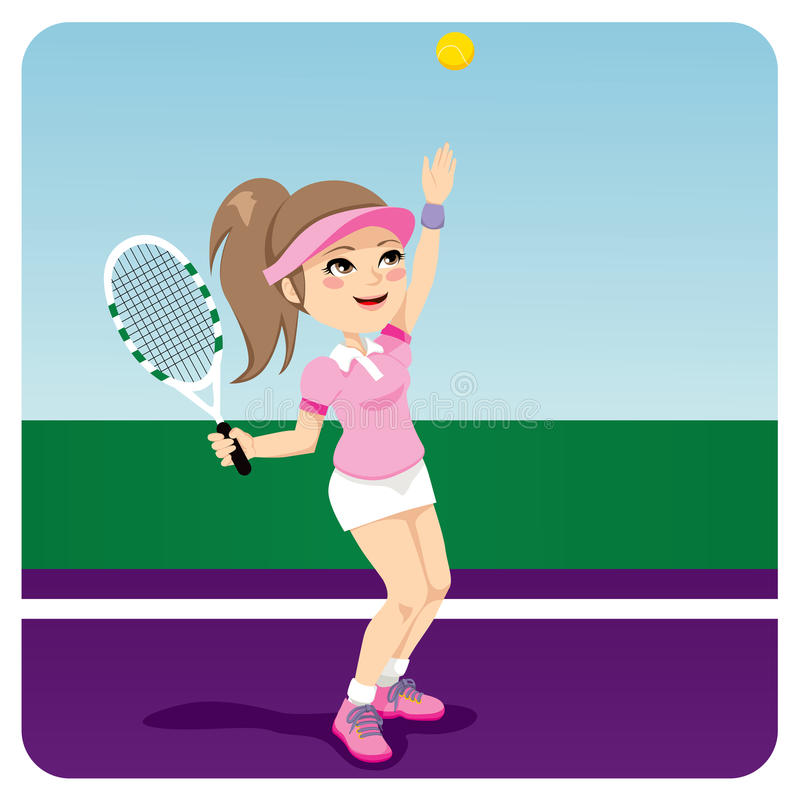 Tennis Woman royalty free illustration