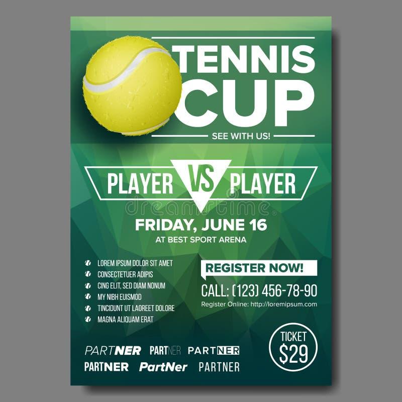 Tennisaffischvektor Isolerat på vit bakgrund Sporthändelse Vertikal design för befordran för sportstång Tennisreklamblad inbjudan royaltyfri illustrationer