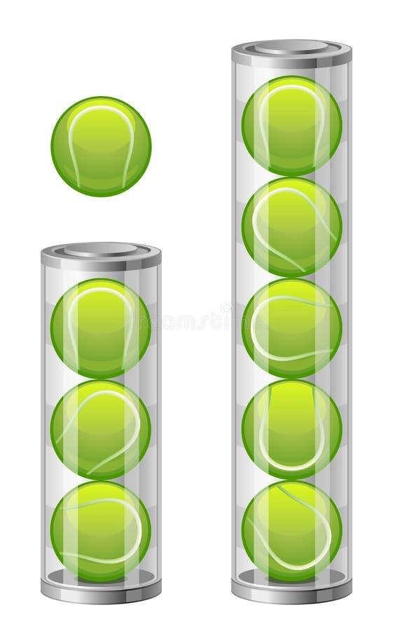Tennisbälle in der Tuba vektor abbildung
