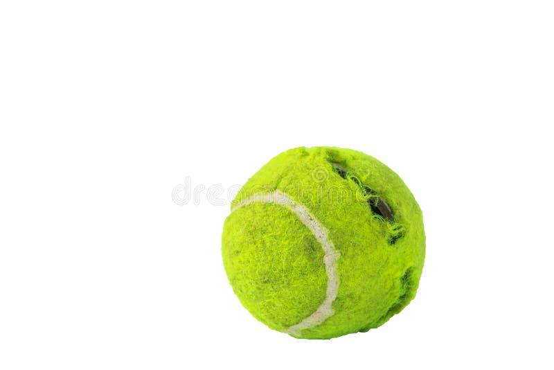 Tennisbälle durch Hundebisse ein weißer Hintergrund lizenzfreies stockbild