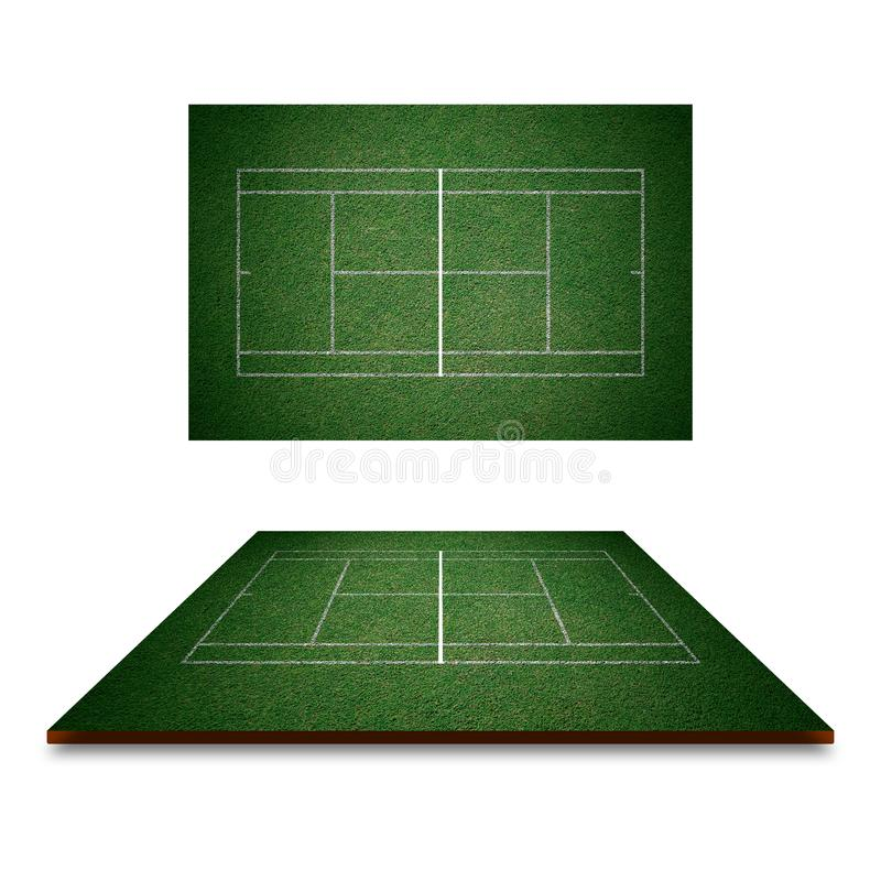 Tennisbaan, groen gras met witte lijn van hoogste mening vector illustratie