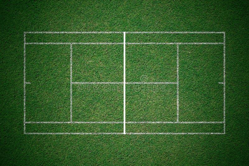 Tennisbaan, groen gras met witte lijn van hoogste mening royalty-vrije illustratie