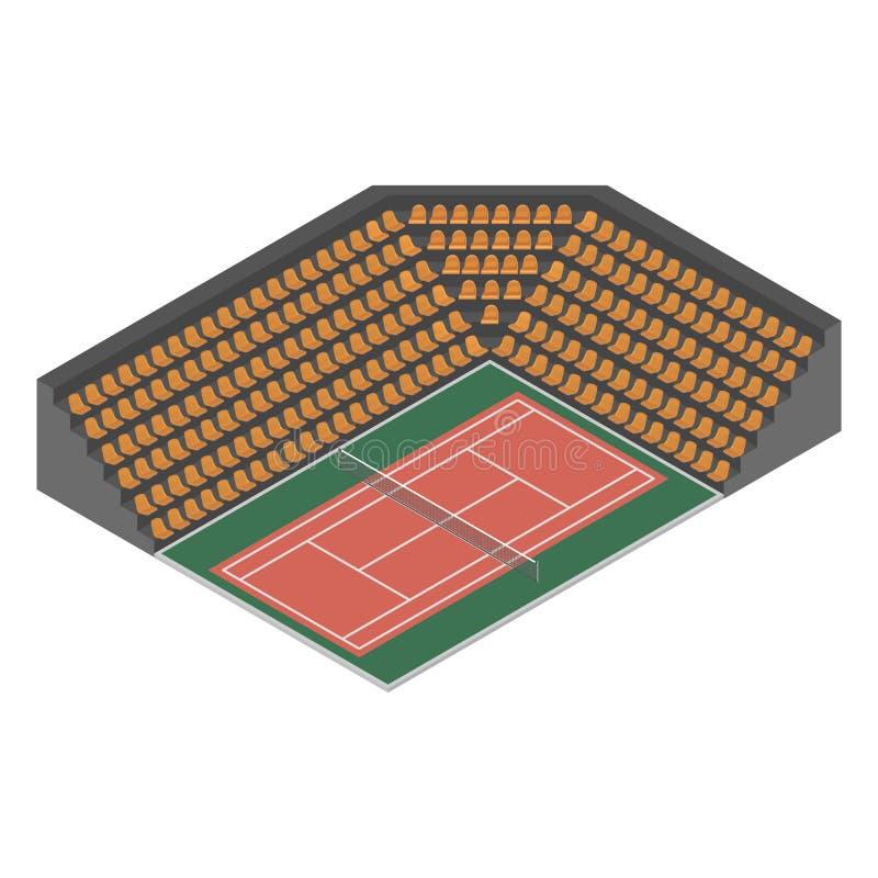 Tennisbaan isometrische, vectorillustratie vector illustratie