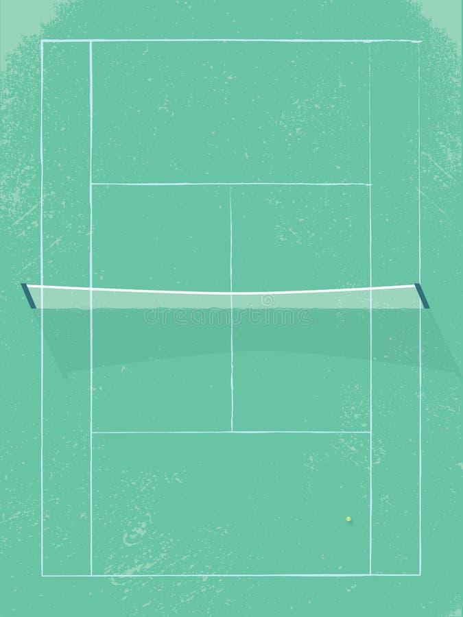 Tennisbaan vectorillustratie in moderne uitstekende retro stijl Grasoppervlakte met netto in midden stock illustratie
