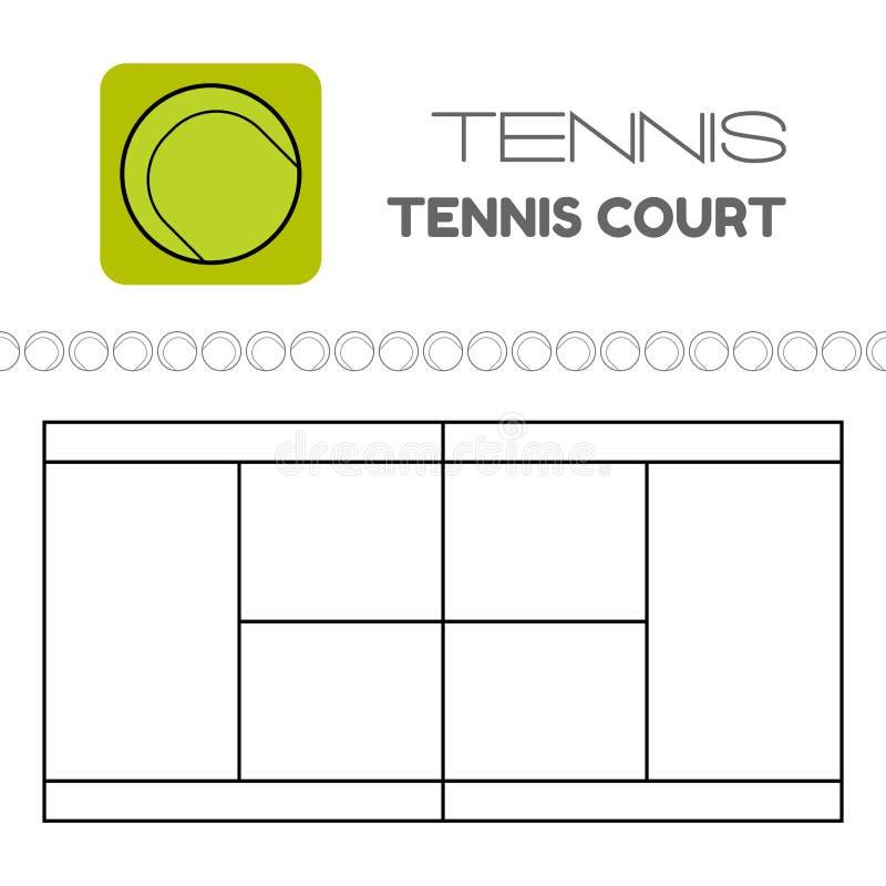 Tennisbal en hof Vlak sportenpictogram Vector stock illustratie