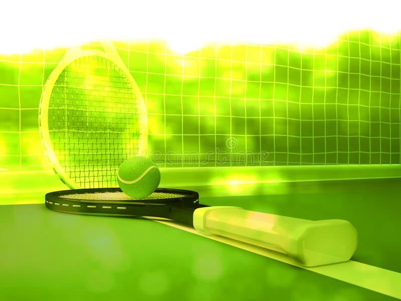 Tennisbal en Rackets op het Hof stock illustratie