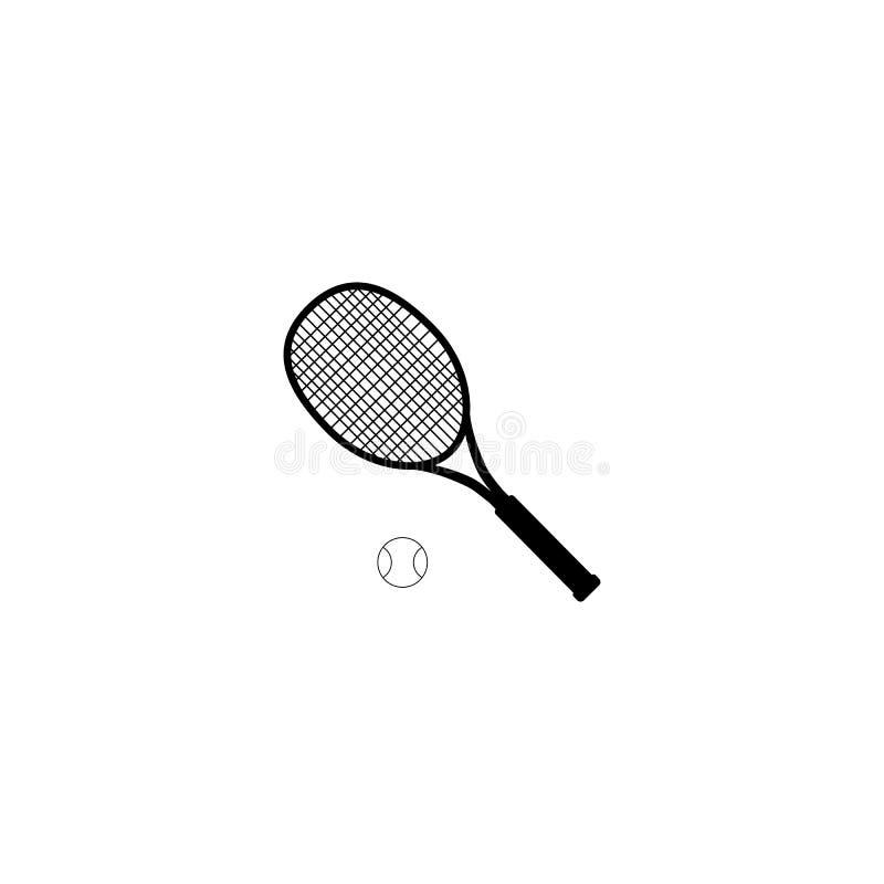Tennisbal en tennisracket, vectorillustratie Tennisontwerp over witte vectorillustratie als achtergrond Sporten, fitness, royalty-vrije illustratie