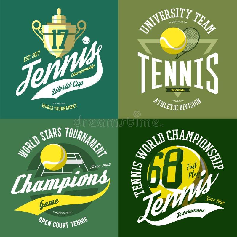 Tennisbal en trofee of kop, rek en hof vector illustratie
