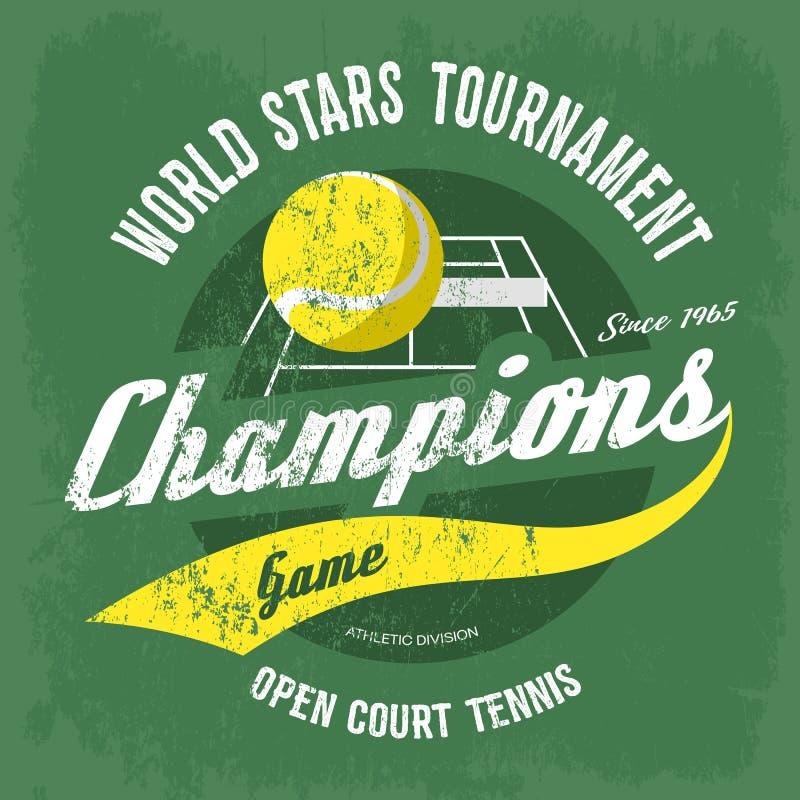 Tennisbal over hof met netto voor t-shirtdruk stock illustratie