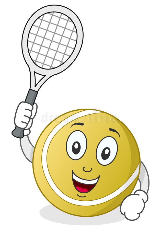Tennisball-Charakter mit Schläger stock abbildung