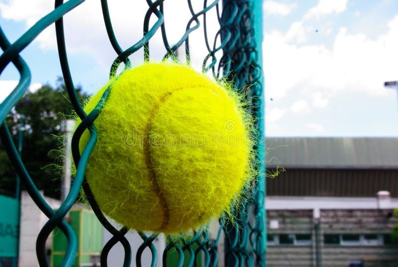 Tennisball fest in einem Zaun lizenzfreie stockfotos