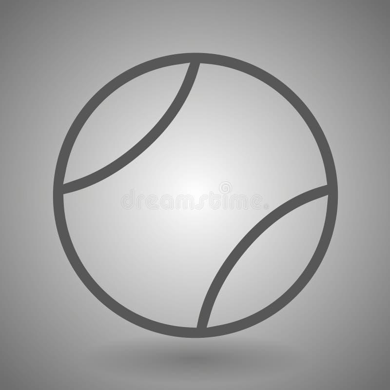 Tennisballlinie Ikone für Netz, Mobile und infographics Dunkelgraue Ikone des Vektors lokalisiert auf hellgrauem Hintergrund vektor abbildung