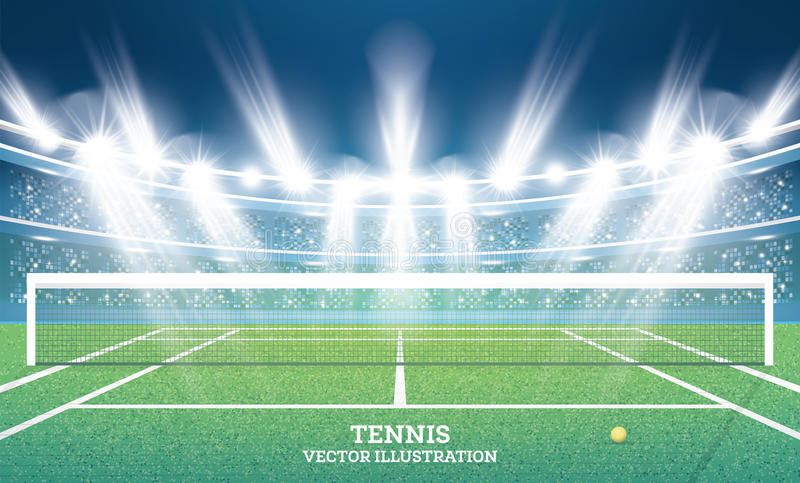 Tennisbana med grönt gräs och strålkastare stock illustrationer