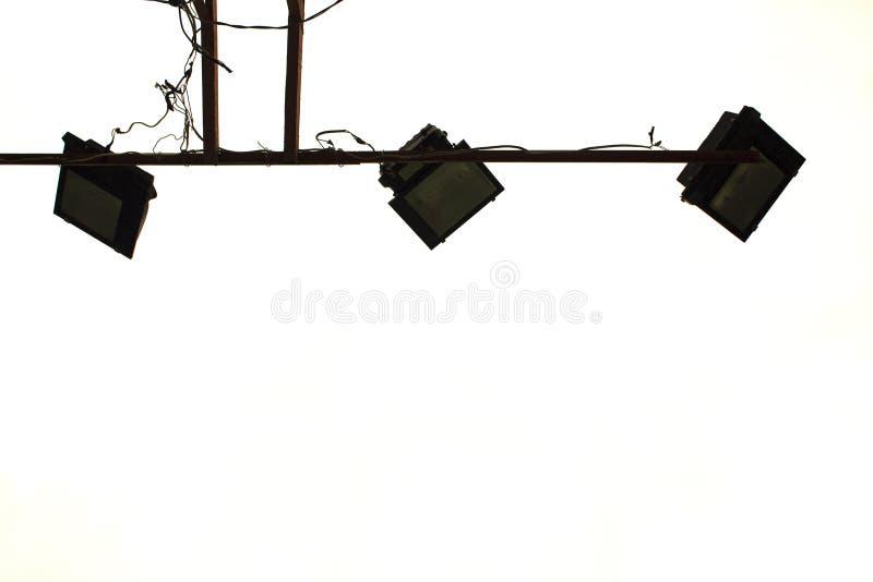 Tennisbanaflodljus på vit bakgrund Modernt ljus för lekplats royaltyfri bild