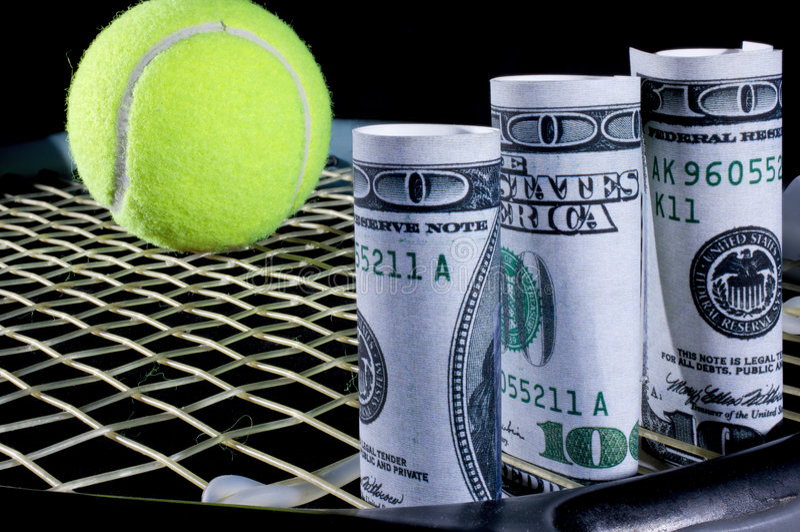 Tennisbargeld lizenzfreie stockfotografie