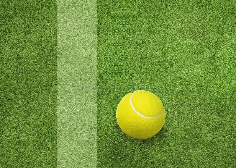 Tennisboll bredvid domstollinjen royaltyfri bild