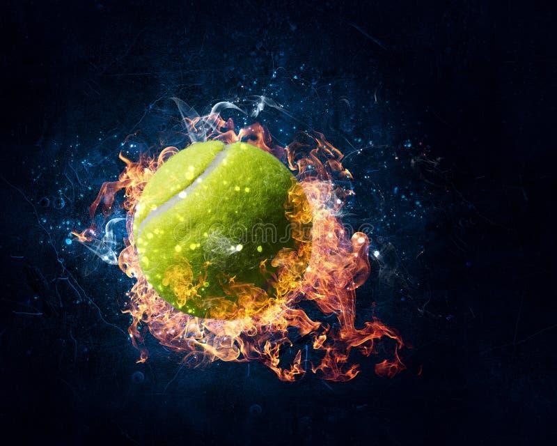 Tennisboll i brand vektor illustrationer
