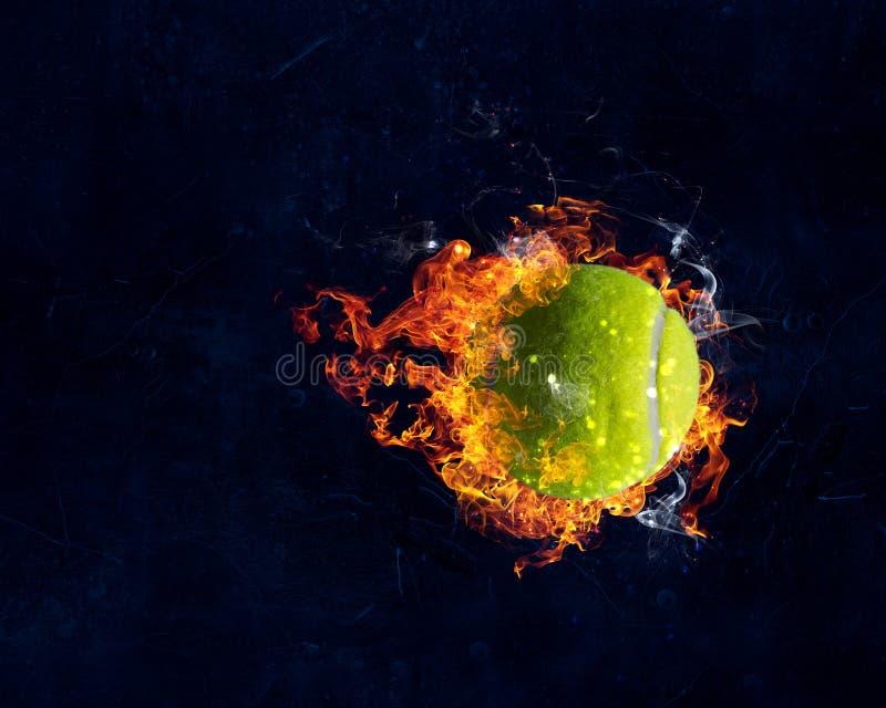 Tennisboll i brand stock illustrationer