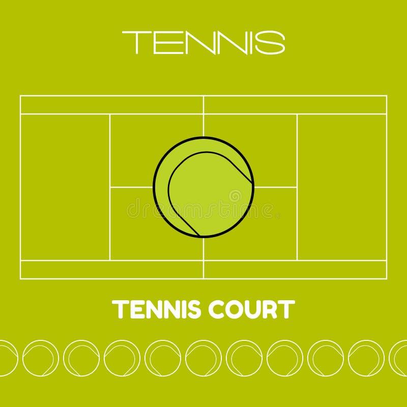 Tennisboll och domstol Plan sportsymbol också vektor för coreldrawillustration vektor illustrationer