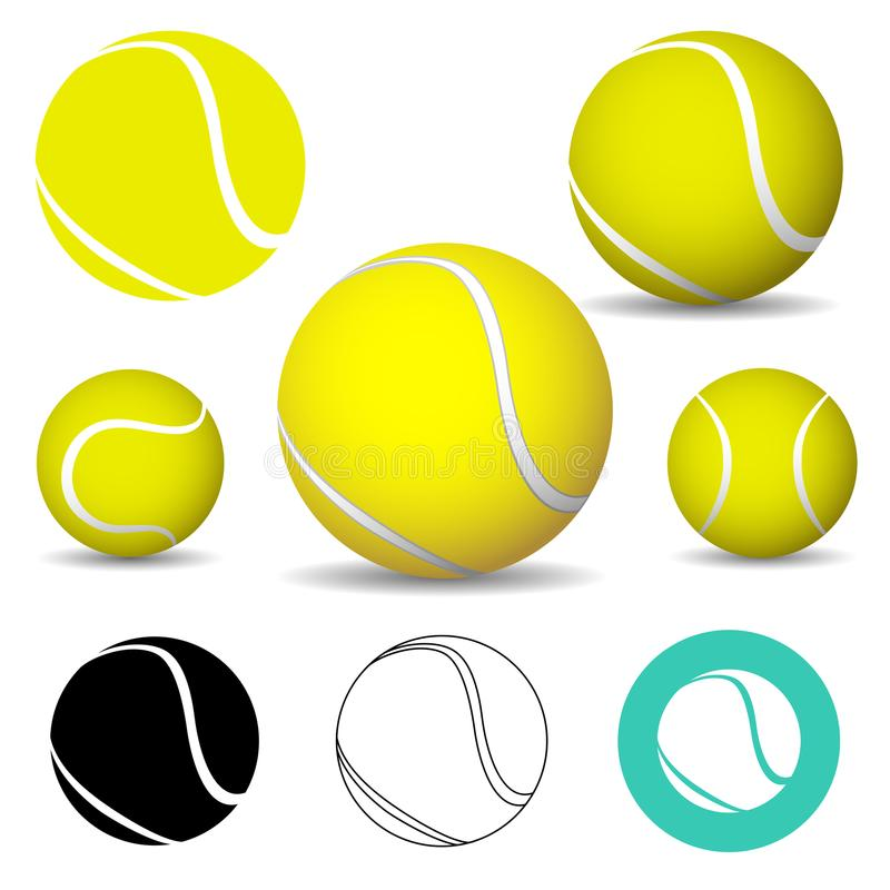 Tennisboll, symboler stock illustrationer