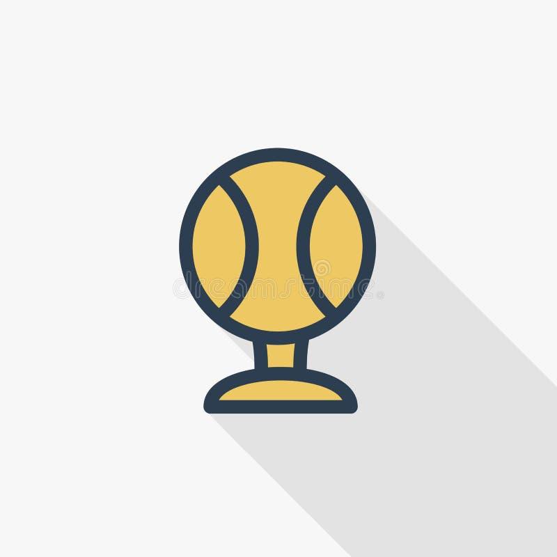 Tennisboll, tunn linje lägenhetfärgsymbol för guld- utmärkelse Linjärt vektorsymbol Färgrik lång skuggadesign stock illustrationer
