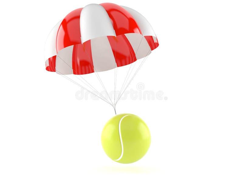 Tennisbollen med hoppa fallskärm stock illustrationer