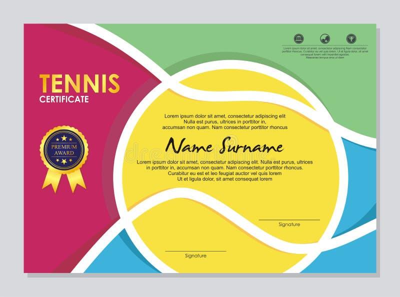 Tenniscertifikat - utmärkelsemall med färgrik och stilfull design royaltyfri illustrationer