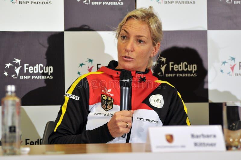Tenniskapitän von Deutschland, Barbara Rittner während einer Presse confer lizenzfreie stockfotos