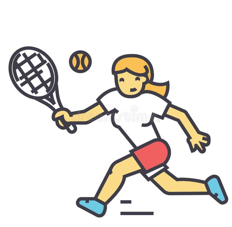 Tennismästerskap, kvinnaspelare i sporten, idrottskvinnabegrepp stock illustrationer