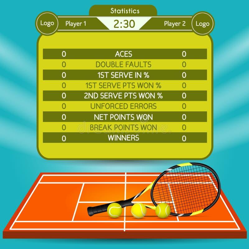 Tennismatchstatistik vektor illustrationer