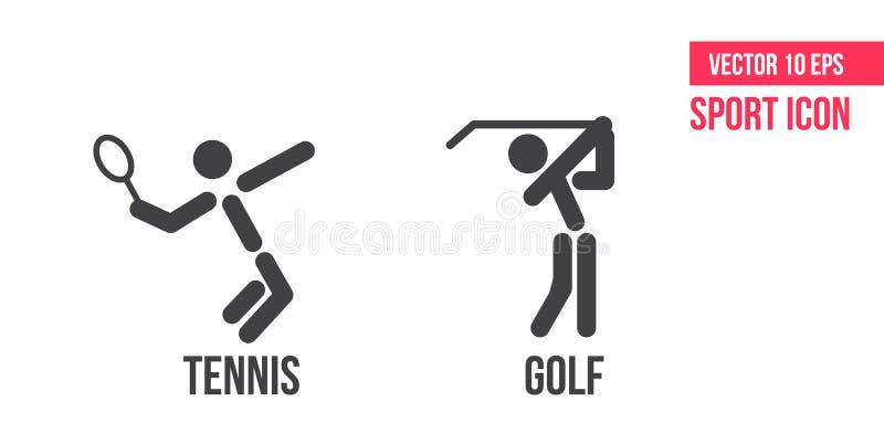 Tennispictogram en golfpictogram, embleem Reeks pictogrammen van de sport vectorlijn Tennis en golfpictogram royalty-vrije illustratie
