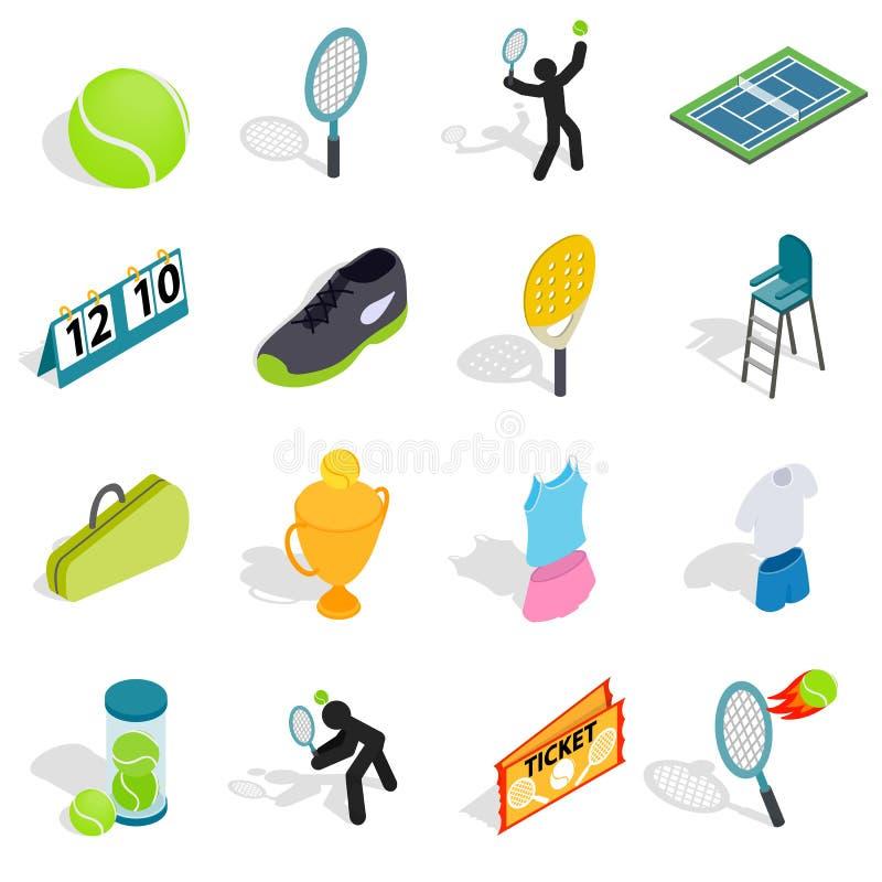 Tennispictogrammen in isometrische 3d stijl worden geplaatst die vector illustratie