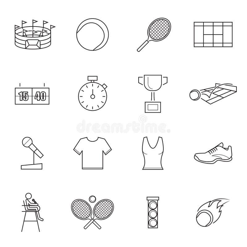 Tennispictogrammen, vector royalty-vrije illustratie