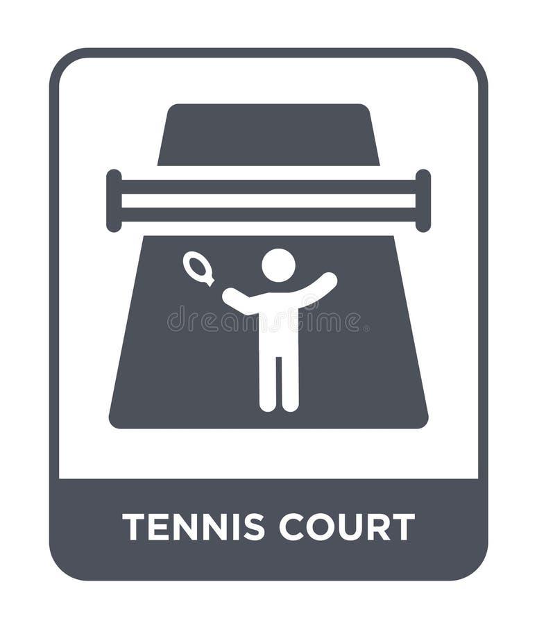 Tennisplatzikone in der modischen Entwurfsart Tennisplatzikone lokalisiert auf weißem Hintergrund Tennisplatzvektorikone einfach  stock abbildung