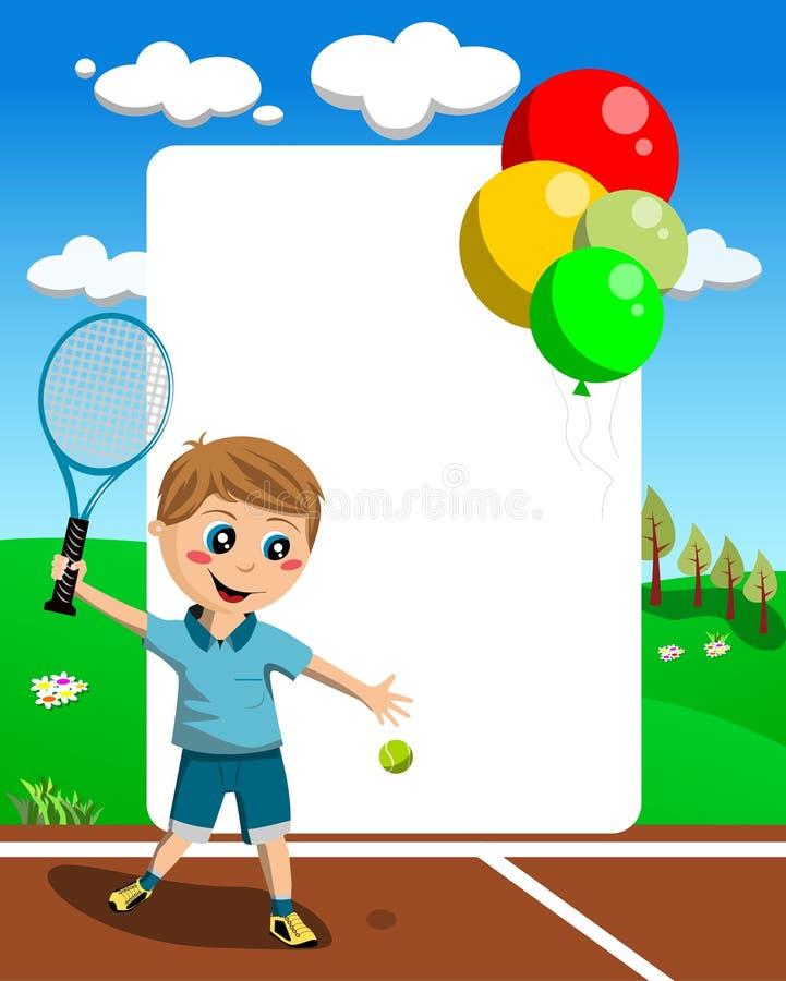 Tennispojkeram vektor illustrationer