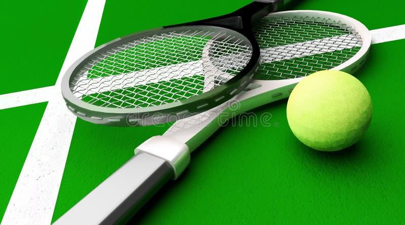 Tennisrackets dichtbij een gele bal op een groen hof royalty-vrije illustratie