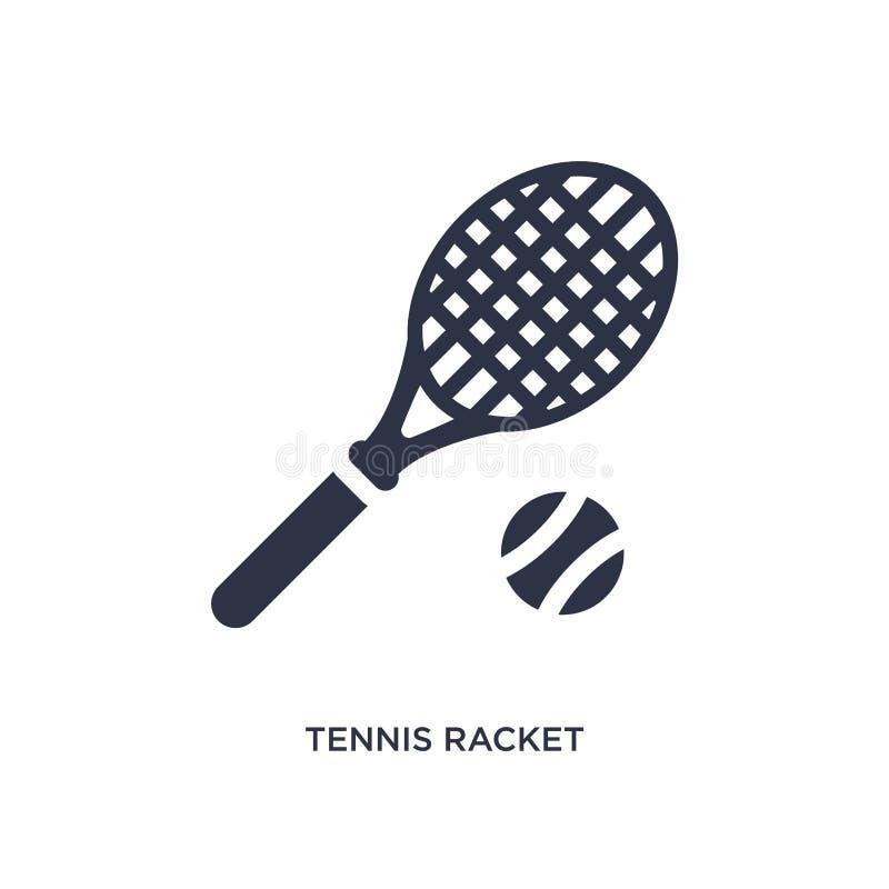 Tennisschlägerikone auf weißem Hintergrund Einfache Elementillustration vom Freizeitkonzept stock abbildung