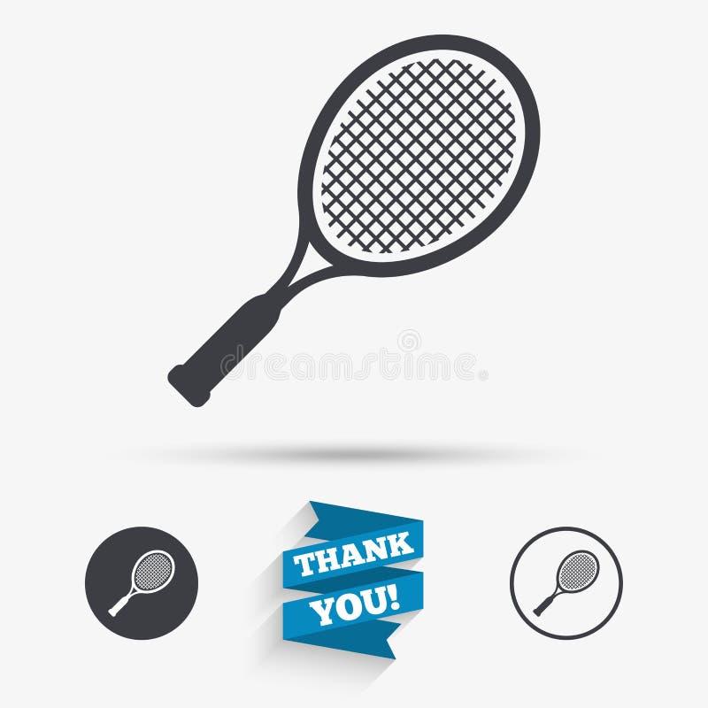 Tennisschläger-Zeichenikone Sportsymbol vektor abbildung