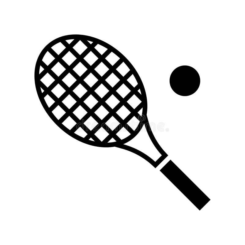 Tennisschlägervektor, in Verbindung stehende feste Ikone der Sommerferien lizenzfreie abbildung