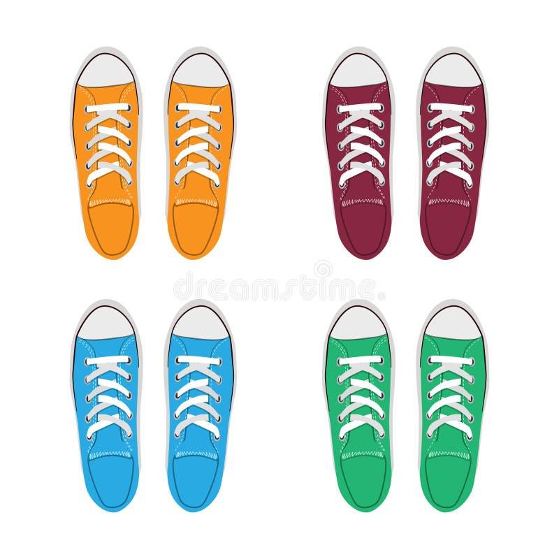 Tennisschoenen die reeks trekken gele, rode groene en blauwe traditionele sportschoenen De stijl vectorillustratie van de schetsk vector illustratie