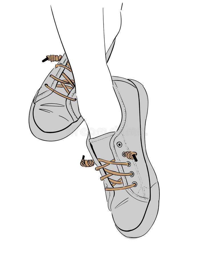 Tennisschoenen elegante capricieuze strook royalty-vrije stock afbeelding