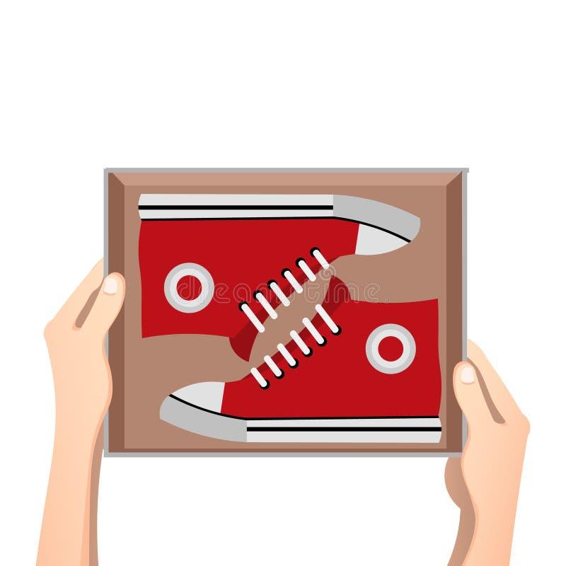 Tennisschoenen met doos stock illustratie